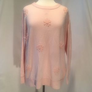 Kate Spade soft pink sweater, with flower beading